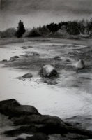 Studio View Fog and Tide   28x19   Charcoal on Paper   2011
